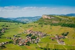 Der Felsen von Vergisson und von Weinyard, Burgunder, Frankreich Stockbild