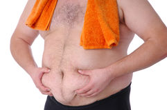 Der fette cheking Mann ist fetter Bauch Lizenzfreies Stockbild