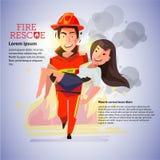 Der Feuerwehrmann, der schönes Mädchen auf Feuerhintergrund trägt - vector illu Stockfotos