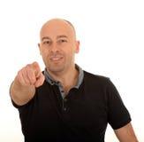 Der Finger des Mannes, der auf Sie zeigt stockfoto