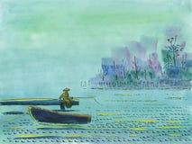 Der Fischer fischt auf der Brücke auf einem See lizenzfreie abbildung