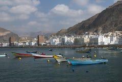 Der Fischereihafen von Al Mukalla im Jemen Stockbild