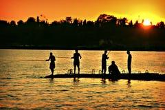 Der Fischersonnenuntergang Lizenzfreies Stockfoto