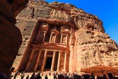 Der Fiskus an PETRA die alte Stadt Al Khazneh in Jordanien Stockbilder