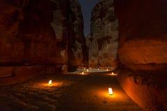 Der Fiskus, Petra By Night Eine alte Stadt von PETRA Lizenzfreie Stockfotos