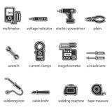 Der flache Ikonensatz der Elektrikerwerkzeuge Stockfotos