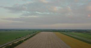 Der Flug über landwirtschaftlichen Feldern, früher Morgen stock video footage