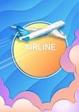 Der Flug eines Passagierflugzeuges Reise, Tourismus und Geschäft stock abbildung