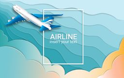Der Flug eines Passagierpassagierflugzeugs Flugzeuge E Der Effekt des geschnittenen Papiers Feld für Text vektor abbildung
