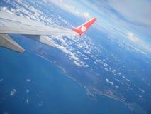 Der Flugzeugflügel von Lion Air-Fluglinie Stockfotografie