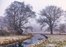 Der Fluss Dene im Winter, Warwickshire Stockfotografie