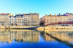 Der Fluss Saone von Lyon, Frankreich Lizenzfreie Stockbilder