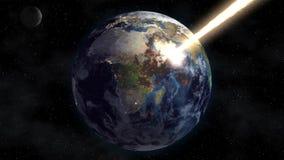 Der Fluss der Solarenergie brennt die Planetenerde im Raum apocalypse lizenzfreie abbildung