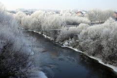 Der Fluss und die Bäume mit weichem Raureif lizenzfreie stockbilder