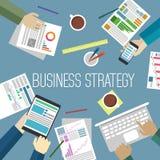 Der Fokus ist nur auf der WortGeschäftsstrategie, im Rot Stockbilder