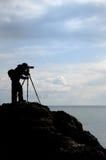 Der Fotograf auf Berg Stockbild