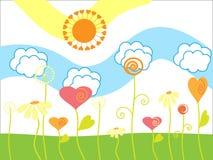 Der fröhliche Sommer der Zeichnung. Lizenzfreies Stockfoto