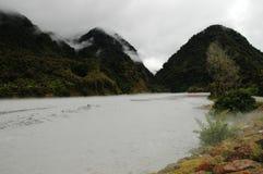 Der Franz Joseph-Fluss in der Flut Stockbild