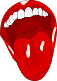 Der Frauen öffnen Mund mit dem Zungeräkeln Stockfoto