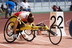 Der Frauen 100 Meter Rollstuhl-Rennen- Lizenzfreie Stockbilder