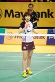 Der Frauen sondert Badminton - Wang Xin aus stockfotografie