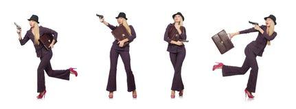 Der Frauengangster mit Gewehr im Weinlesekonzept stockfoto