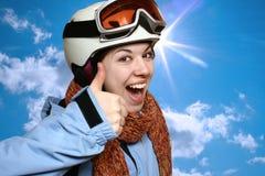 Der freundliche Skifahrer. Stockfotografie