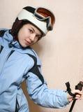 Der freundliche Skifahrer. Stockfoto