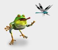 Der Frosch, der eine Libelle jagt - enthält Ausschnittspfad stock abbildung