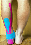 Der Fuß mit einer Wunde bedeckt mit dem Band benutzt im elastischen therapeu Stockfotografie
