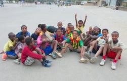 Der Fußball der Kinder in Äthiopien Lizenzfreie Stockfotografie