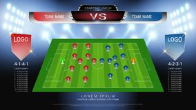 Der Fußball oder Fußball, die Aufstellung, Jersey-Uniformen und Anzeigetafelmatch gegen Strategie beginnen, übertrugen grafische  lizenzfreie abbildung