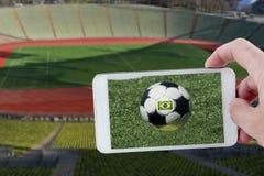 An der Fußball-Weltmeisterschaft Stockbild