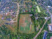 Der Fußballplatz einer kleinen russischen provinziellen Stadt Lizenzfreies Stockbild