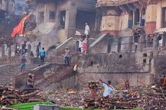Der Ganges-Holz-Arbeitskräfte stockfotos