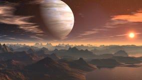 Der Gasriese und der Sonnenaufgang auf einem fantastischen Planeten vektor abbildung