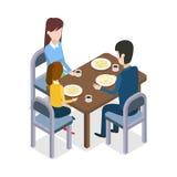 An der Gaststätte Familie, die an Speisetische sitzt stock abbildung