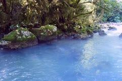 Der Gebirgsfluss, der unter den Felsen in Sommer fließt Stockbild