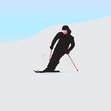 Der Gebirgsskifahrer auf Abfall Stockfotos