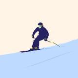 Der Gebirgsskifahrer auf Abfall Stockfoto