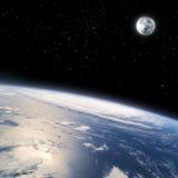 Der gebogene Horizont von Erde vom Platz