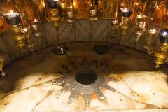 Der Geburtsort von Jesus Christ, markiert mit einem silbernen Stern Die Kirche der Geburt Christi, Bethlehem Palästina Lizenzfreie Stockfotografie