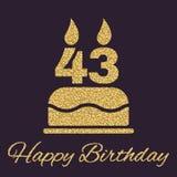 Der Geburtstagskuchen mit Kerzen in Form von Ikone der Nr. 43 Geburtstagssymbol Goldscheine und -funkeln Stockfoto