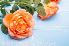 Der gefärbte Pfirsich stieg auf dem Tisch Stockfotos