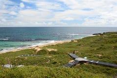 Der Gehweg Pinguininsel Shoalwater-Insel-Marinepark Rockingham Sein gelegen auf Wellington-Straße und war im November 2012 geöffn Lizenzfreies Stockbild