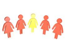 Der gelbe Führer im weiblichen Kollektiv Stockbilder