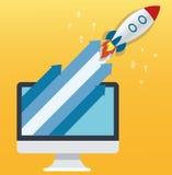 Der gelbe Hintergrund der Raketenikone und -computers, Startgeschäftskonzeptillustration Stockfotografie