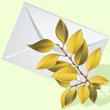 Der gelbe Zweig liegt auf einem Umschlag. Stockfoto