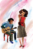 Der Gesangmädchenjazz stockbild