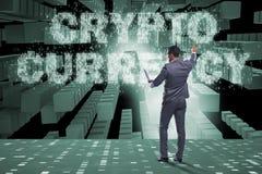 Der Geschäftsmann in blockchain cryptocurrency Konzept Lizenzfreie Stockfotografie